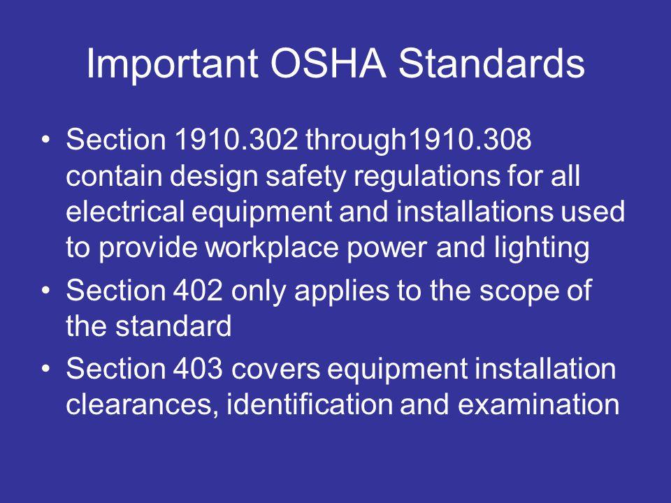 Important OSHA Standards