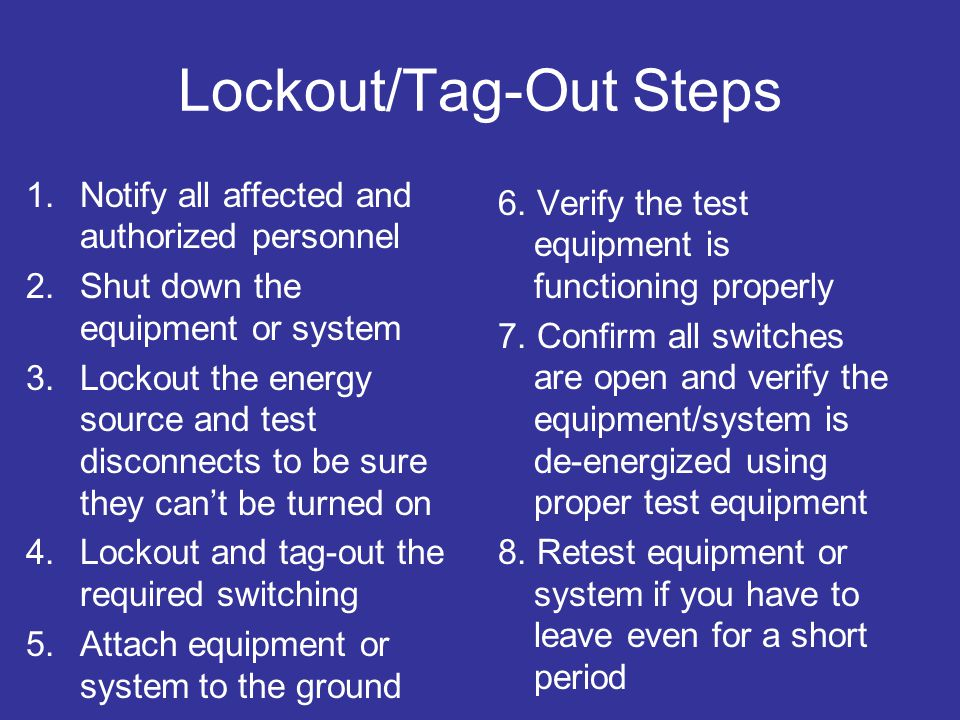 Lockout/Tag-Out Steps