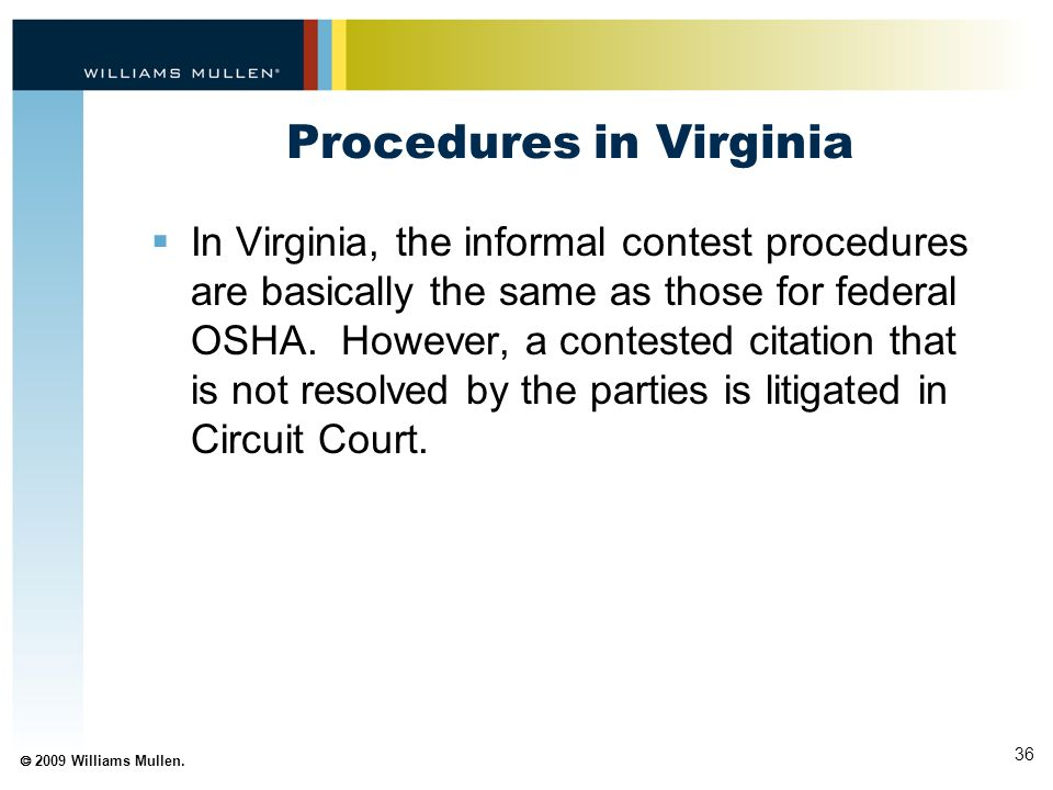 Procedures in Virginia