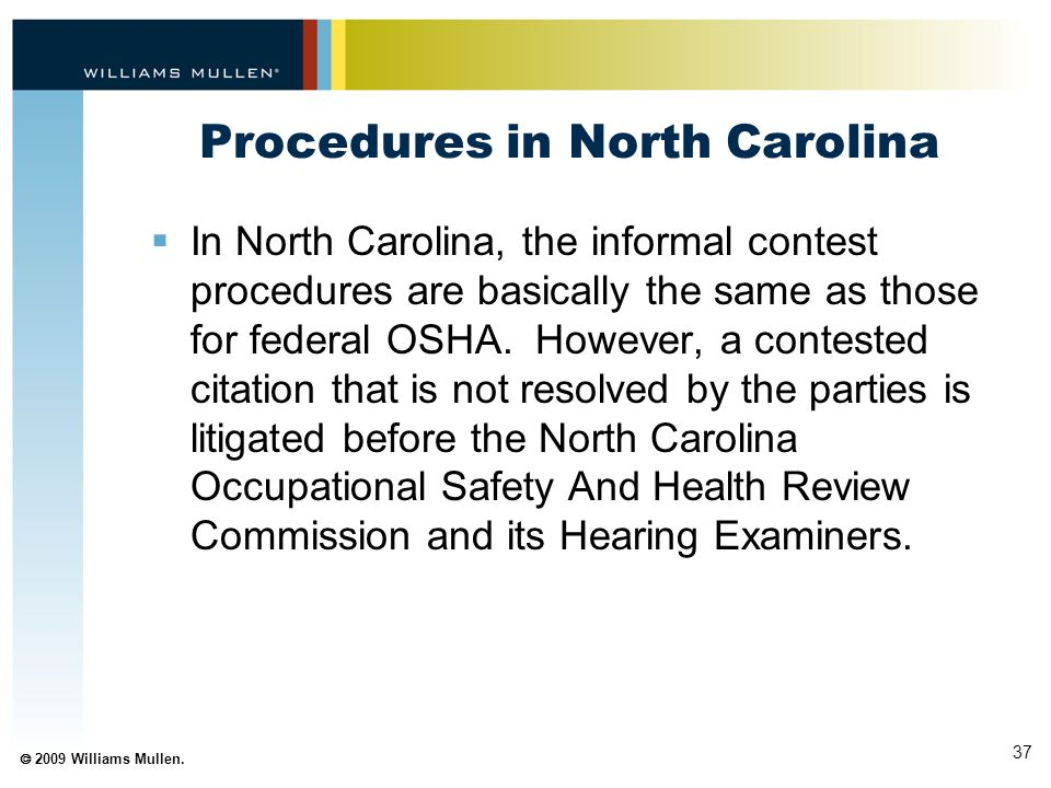 Procedures in North Carolina