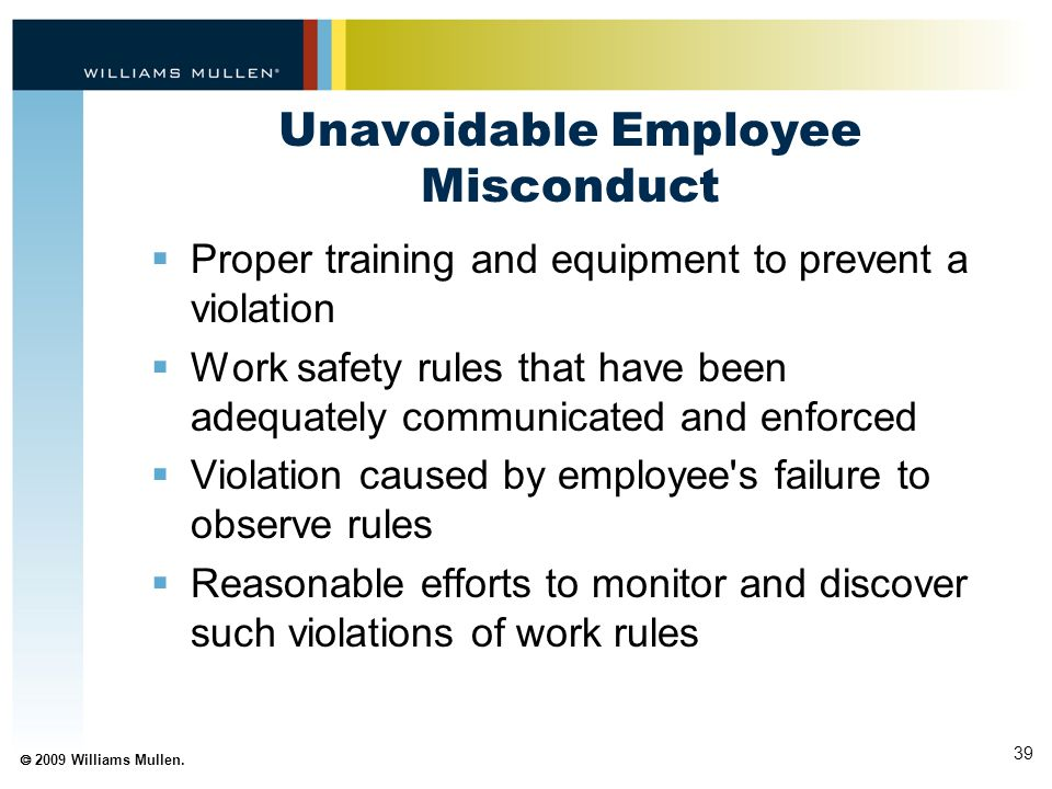 Unavoidable Employee Misconduct