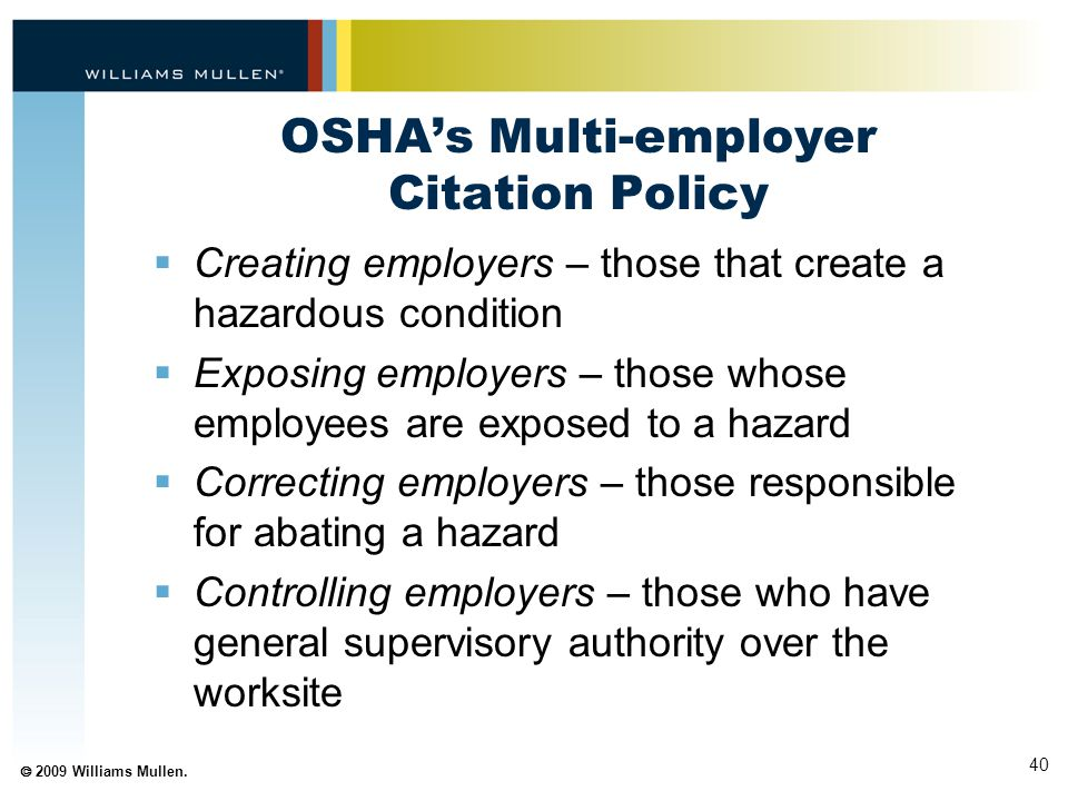 OSHA's Multi-employer Citation Policy