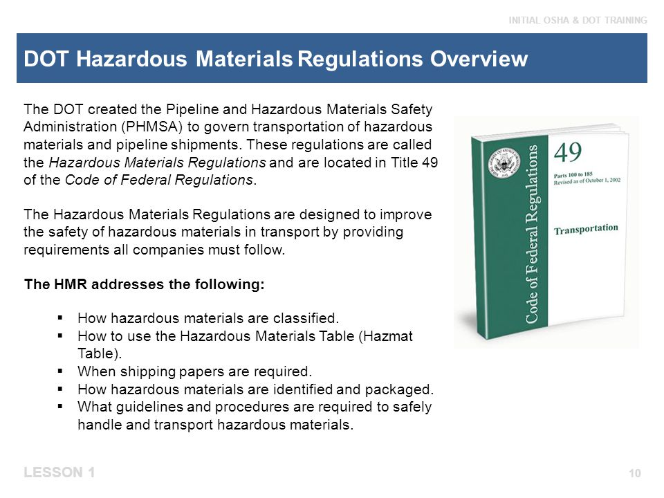 DOT Hazardous Materials Regulations Overview