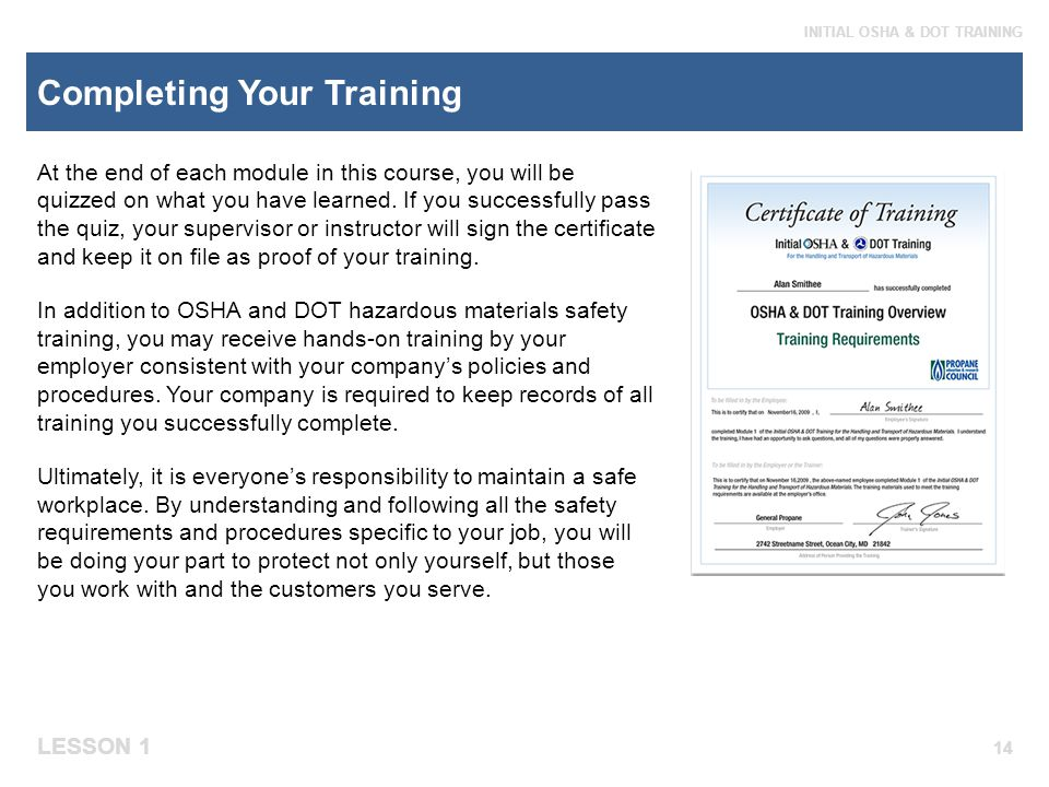 Completing Your Training