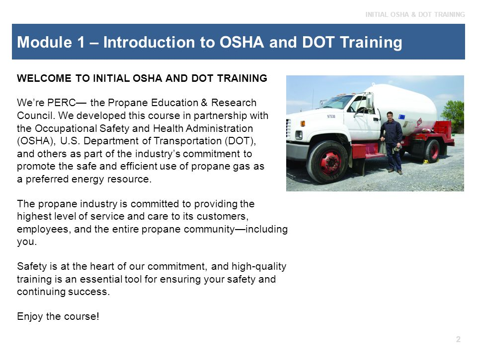 Module 1 – Introduction to OSHA and DOT Training