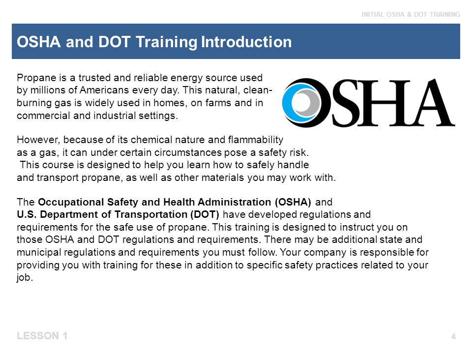 OSHA and DOT Training Introduction