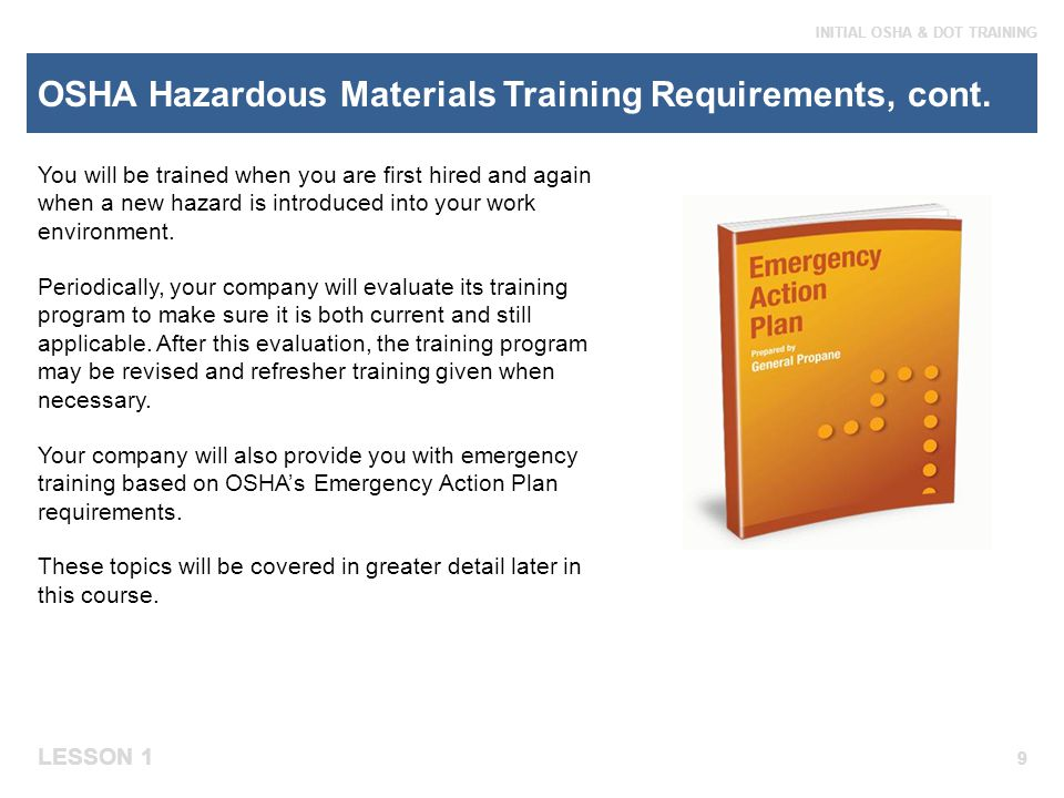 OSHA Hazardous Materials Training Requirements, cont.