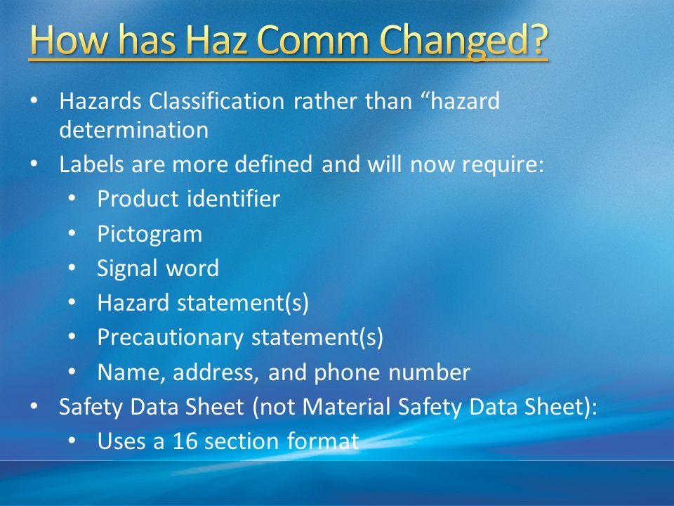 How has Haz Comm Changed