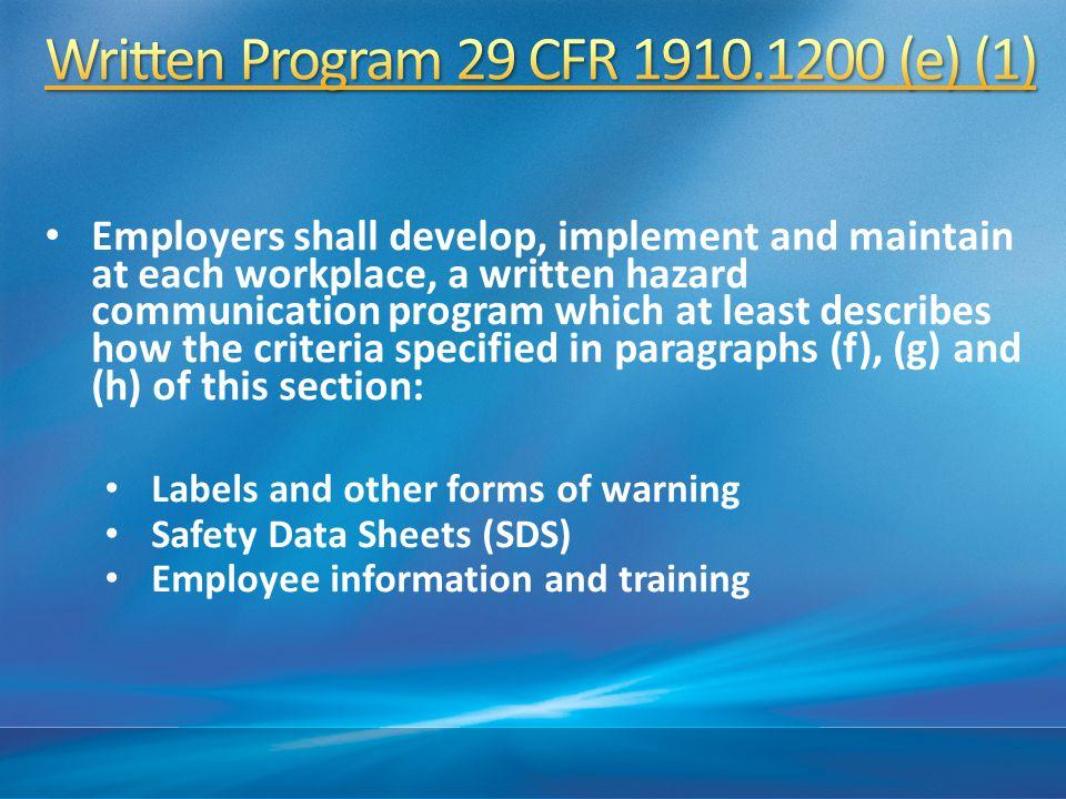 Written Program 29 CFR 1910.1200 (e) (1)