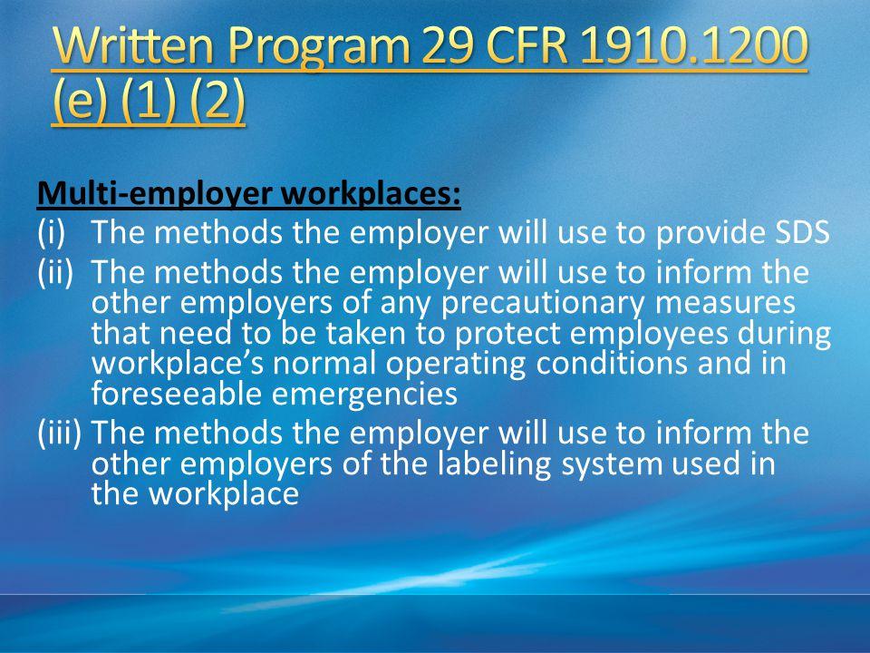 Written Program 29 CFR 1910.1200 (e) (1) (2)