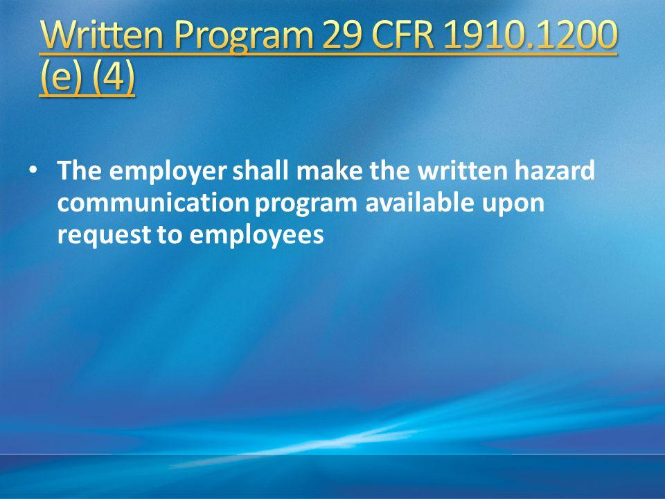 Written Program 29 CFR 1910.1200 (e) (4)