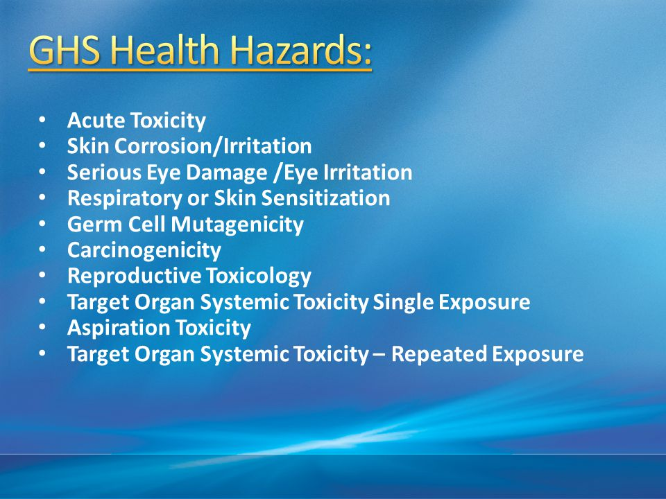 GHS Health Hazards: Acute Toxicity Skin Corrosion/Irritation