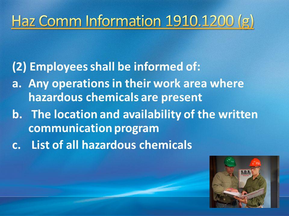 Haz Comm Information 1910.1200 (g)