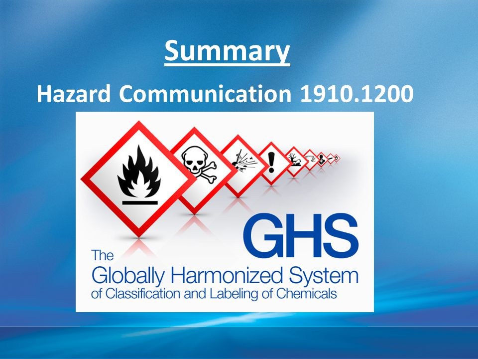 Summary Hazard Communication 1910.1200 4/15/2017 10:46 AM