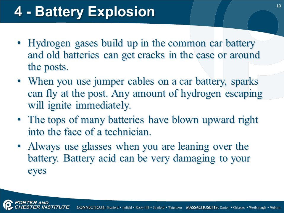 4 - Battery Explosion Hydrogen gases build up in the common car battery and old batteries can get cracks in the case or around the posts.