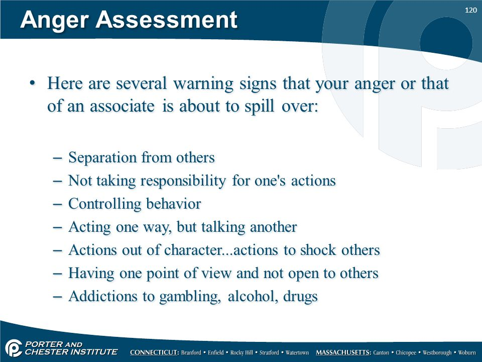 Anger Assessment Here are several warning signs that your anger or that of an associate is about to spill over: