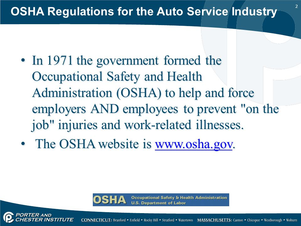The OSHA website is www.osha.gov.