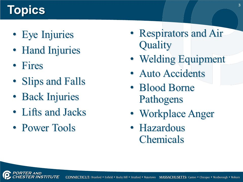 Topics Eye Injuries Hand Injuries Fires Slips and Falls Back Injuries