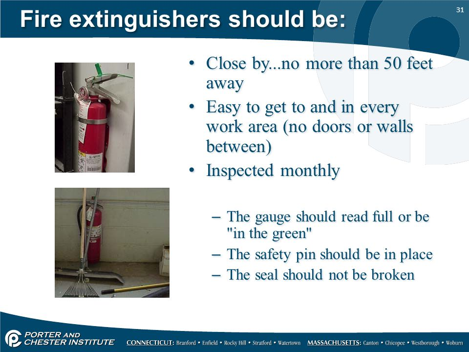 Fire extinguishers should be: