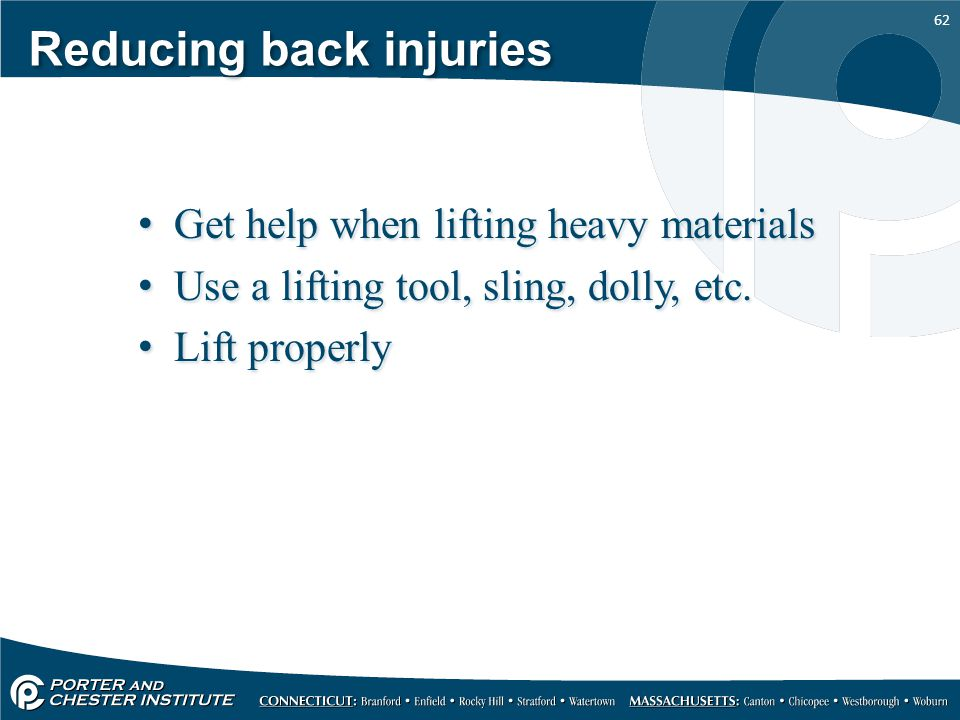 Reducing back injuries