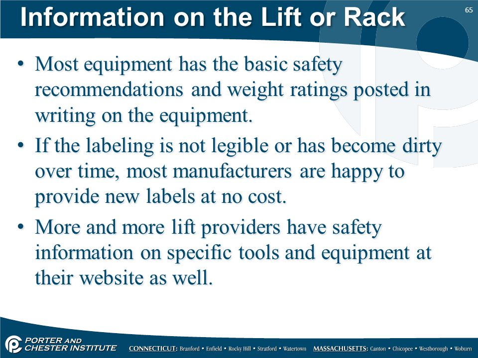 Information on the Lift or Rack