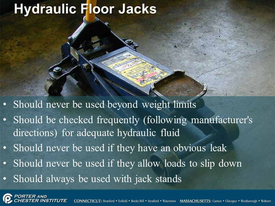 Hydraulic Floor Jacks Should never be used beyond weight limits