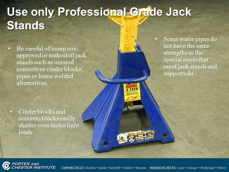 Use only Professional Grade Jack Stands