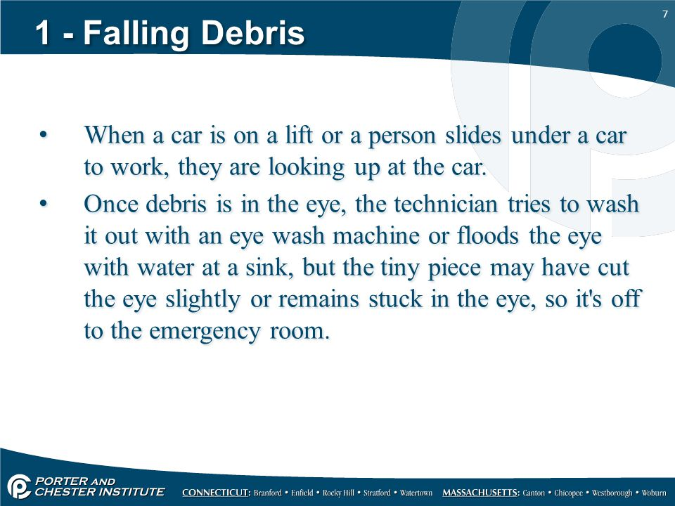 1 - Falling Debris When a car is on a lift or a person slides under a car to work, they are looking up at the car.