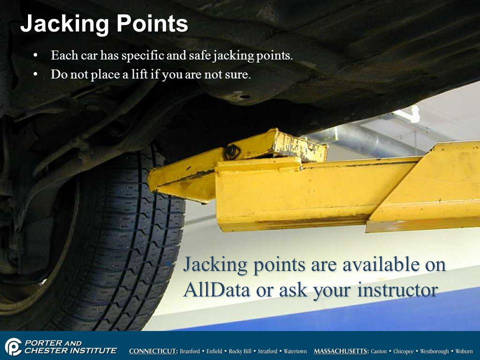 Jacking Points Each car has specific and safe jacking points. Do not place a lift if you are not sure.