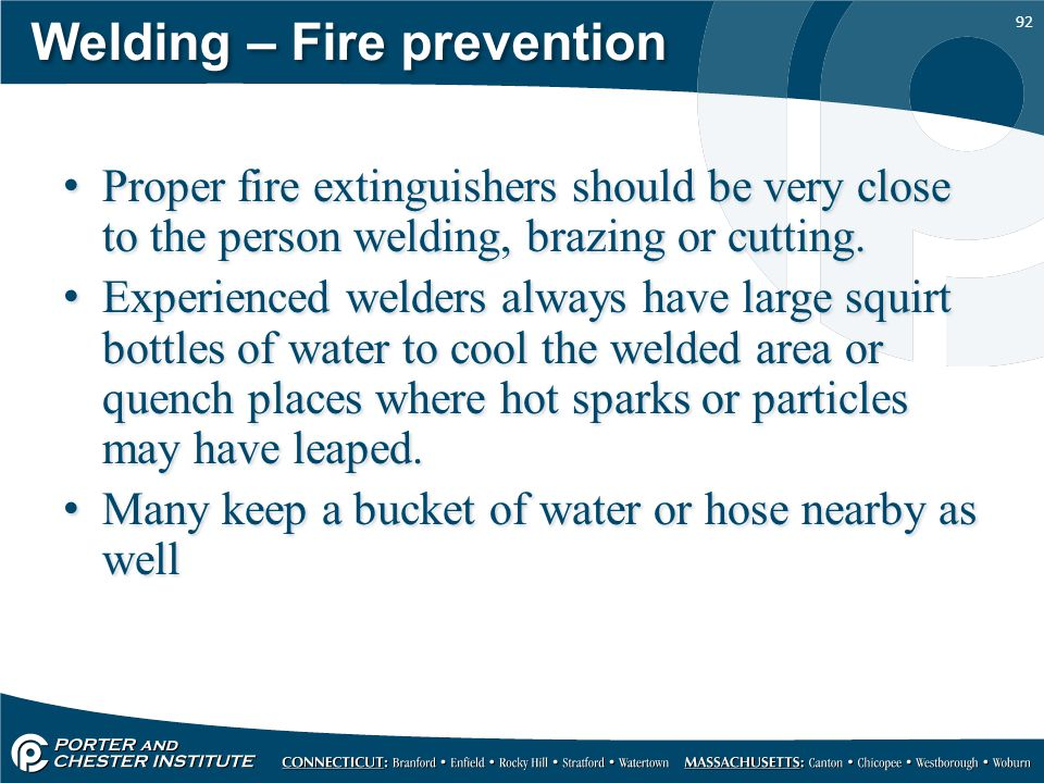 Welding – Fire prevention