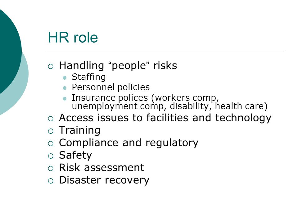 HR role Handling people risks