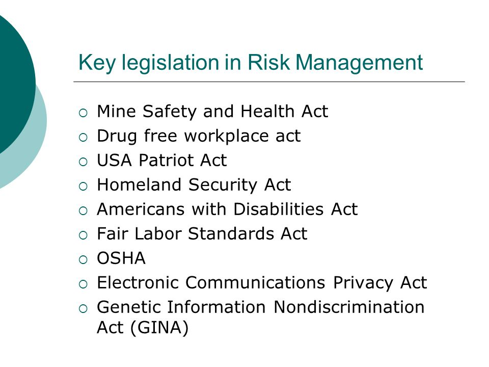 Key legislation in Risk Management