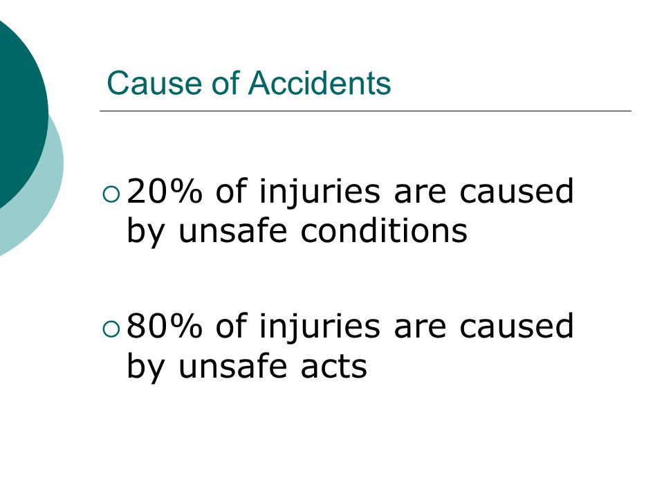 Cause of Accidents 20% of injuries are caused by unsafe conditions.