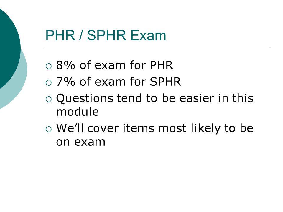 PHR / SPHR Exam 8% of exam for PHR 7% of exam for SPHR