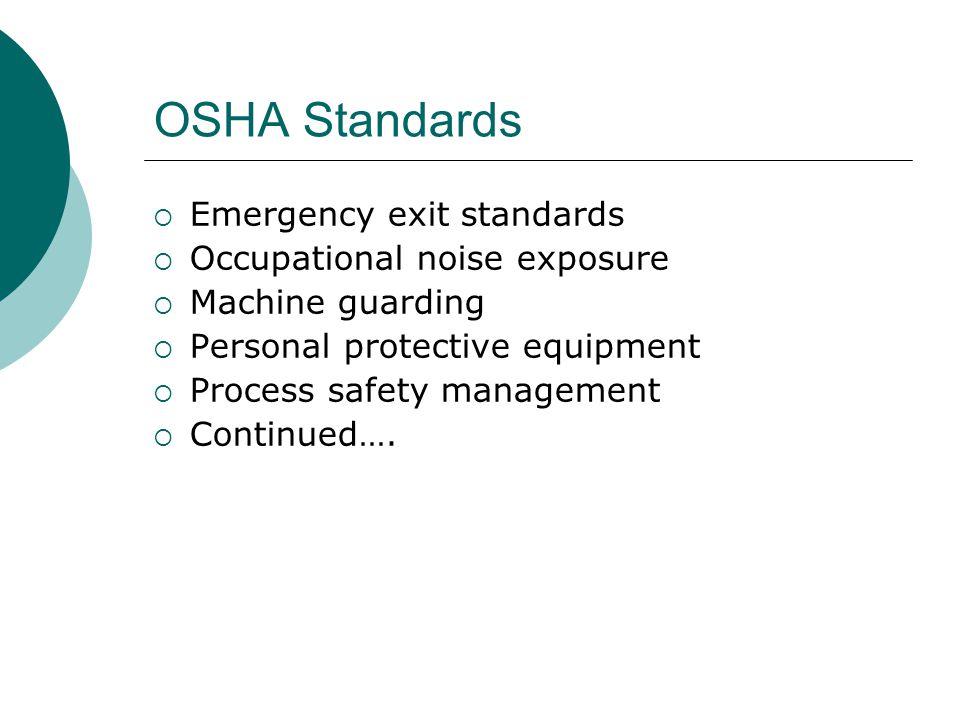 OSHA Standards Emergency exit standards Occupational noise exposure