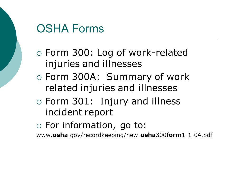 OSHA Forms Form 300: Log of work-related injuries and illnesses