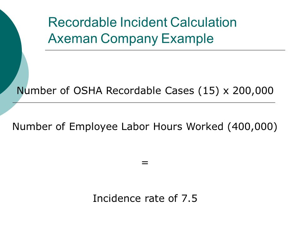 Recordable Incident Calculation Axeman Company Example