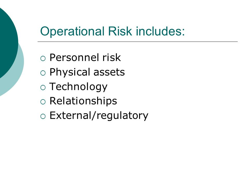 Operational Risk includes: