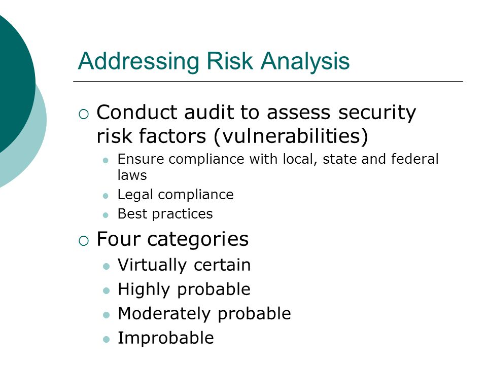 Addressing Risk Analysis
