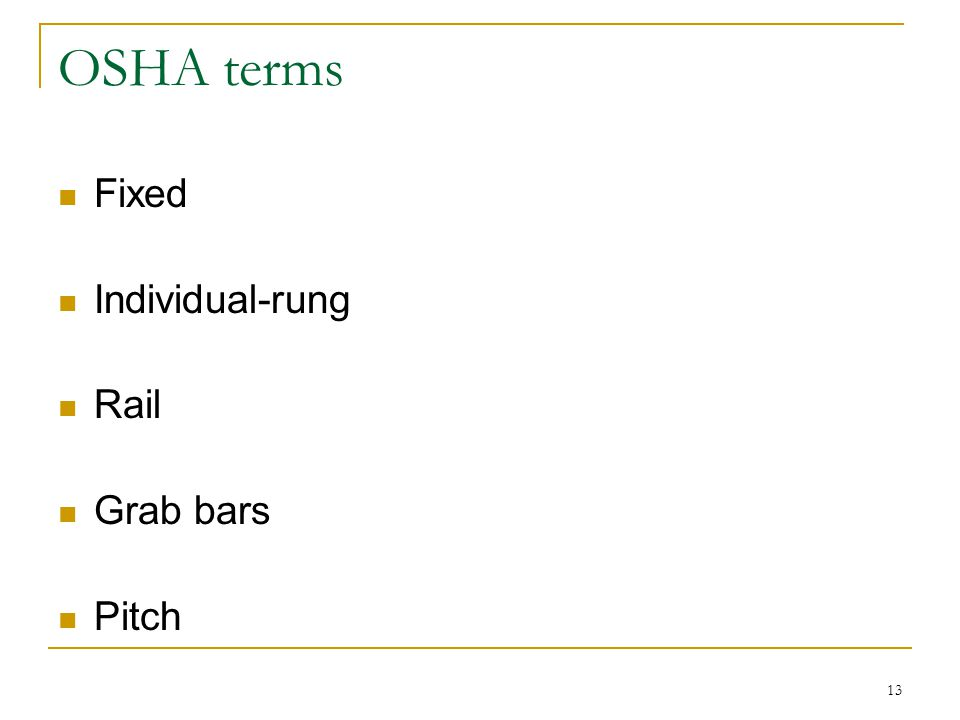 OSHA terms Fixed Individual-rung Rail Grab bars Pitch