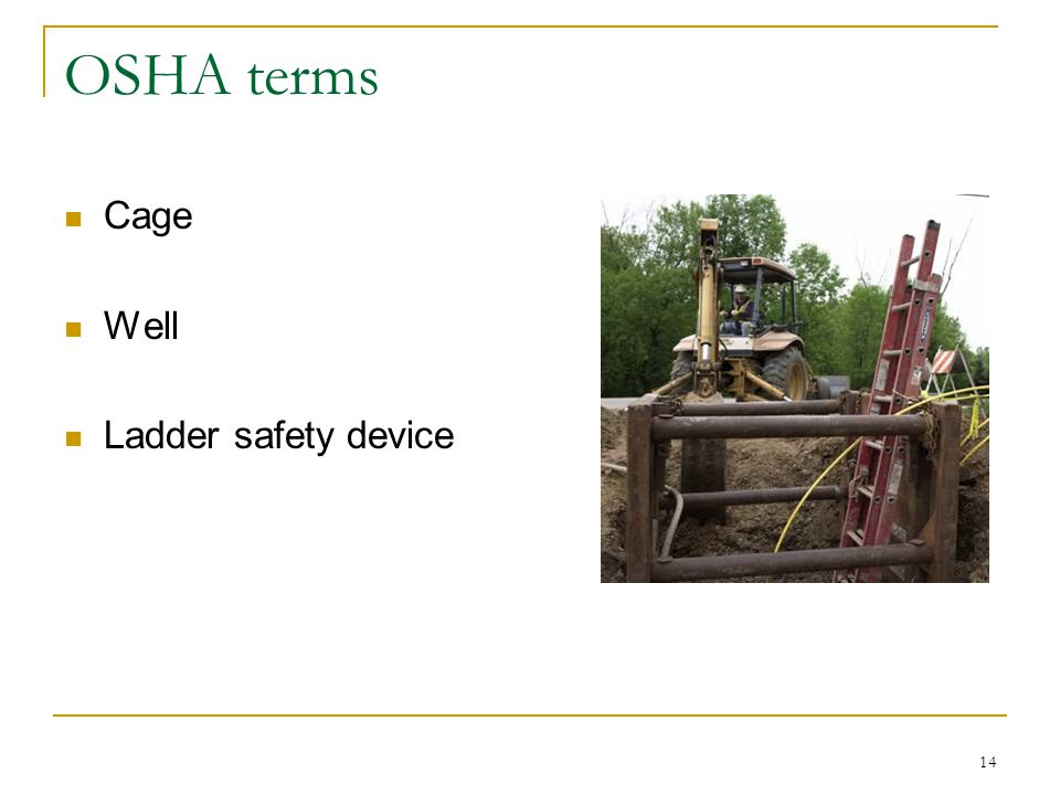 OSHA terms Cage Well Ladder safety device