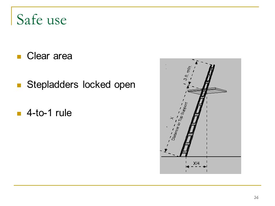 Safe use Clear area Stepladders locked open 4-to-1 rule