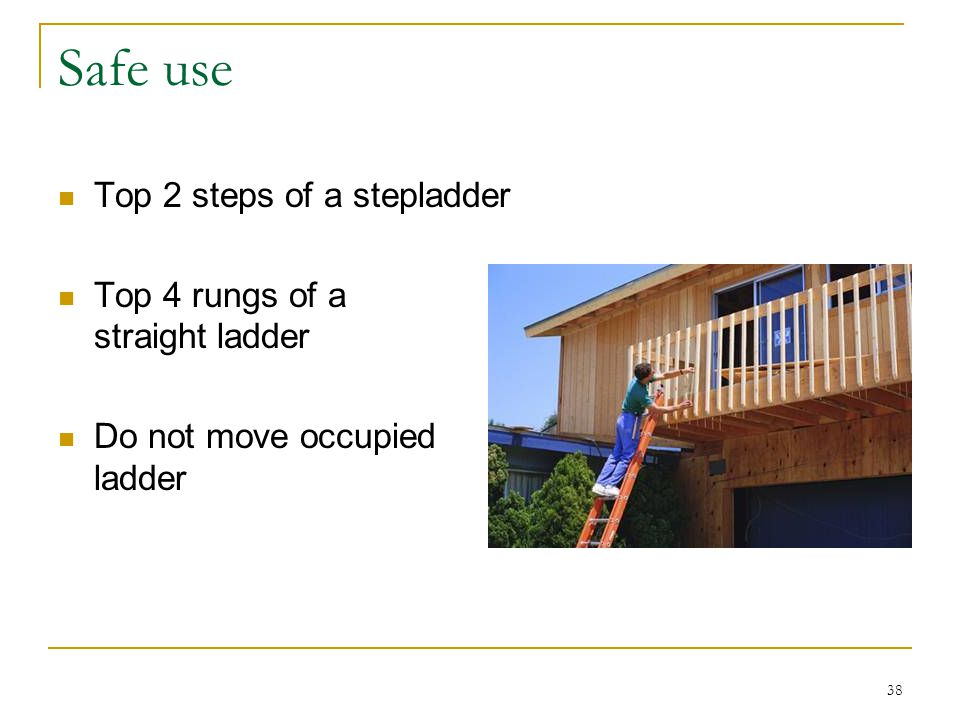 Safe use Top 2 steps of a stepladder Top 4 rungs of a straight ladder
