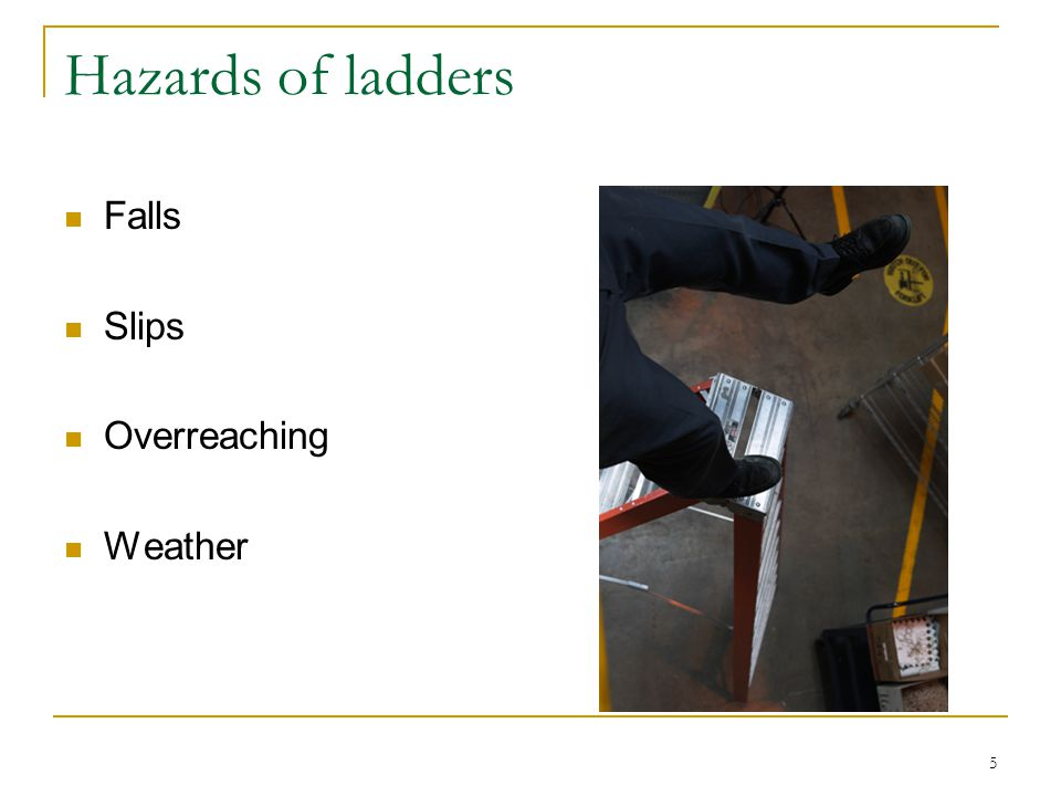 Hazards of ladders Falls Slips Overreaching Weather