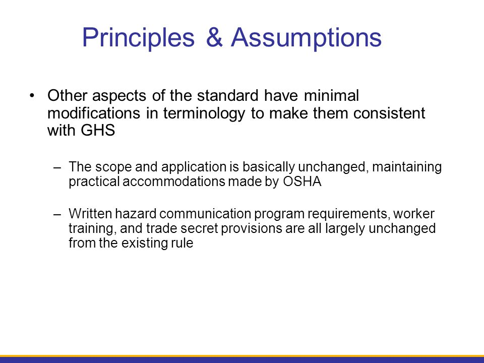 Principles & Assumptions