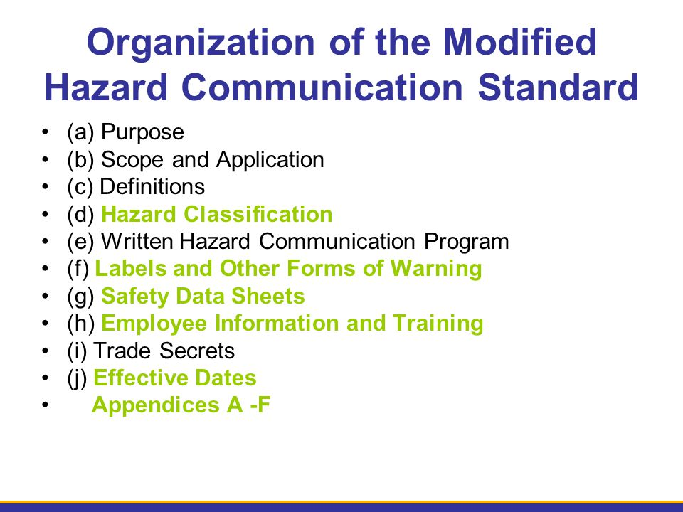 Organization of the Modified Hazard Communication Standard