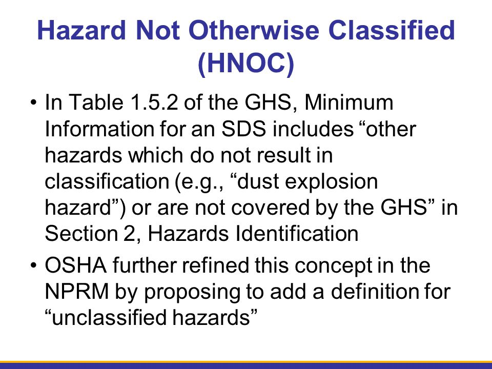 Hazard Not Otherwise Classified (HNOC)