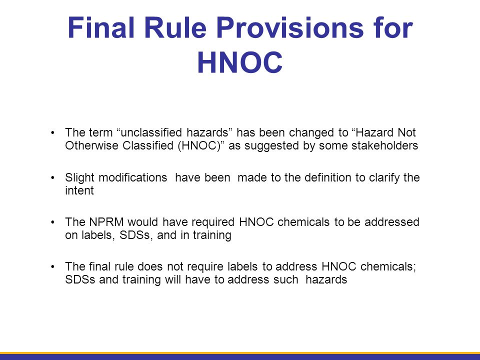 Final Rule Provisions for HNOC