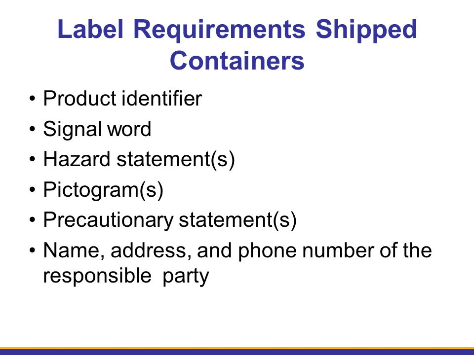 Label Requirements Shipped Containers