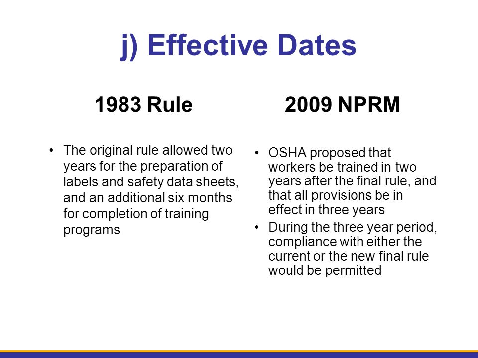 j) Effective Dates 1983 Rule 2009 NPRM